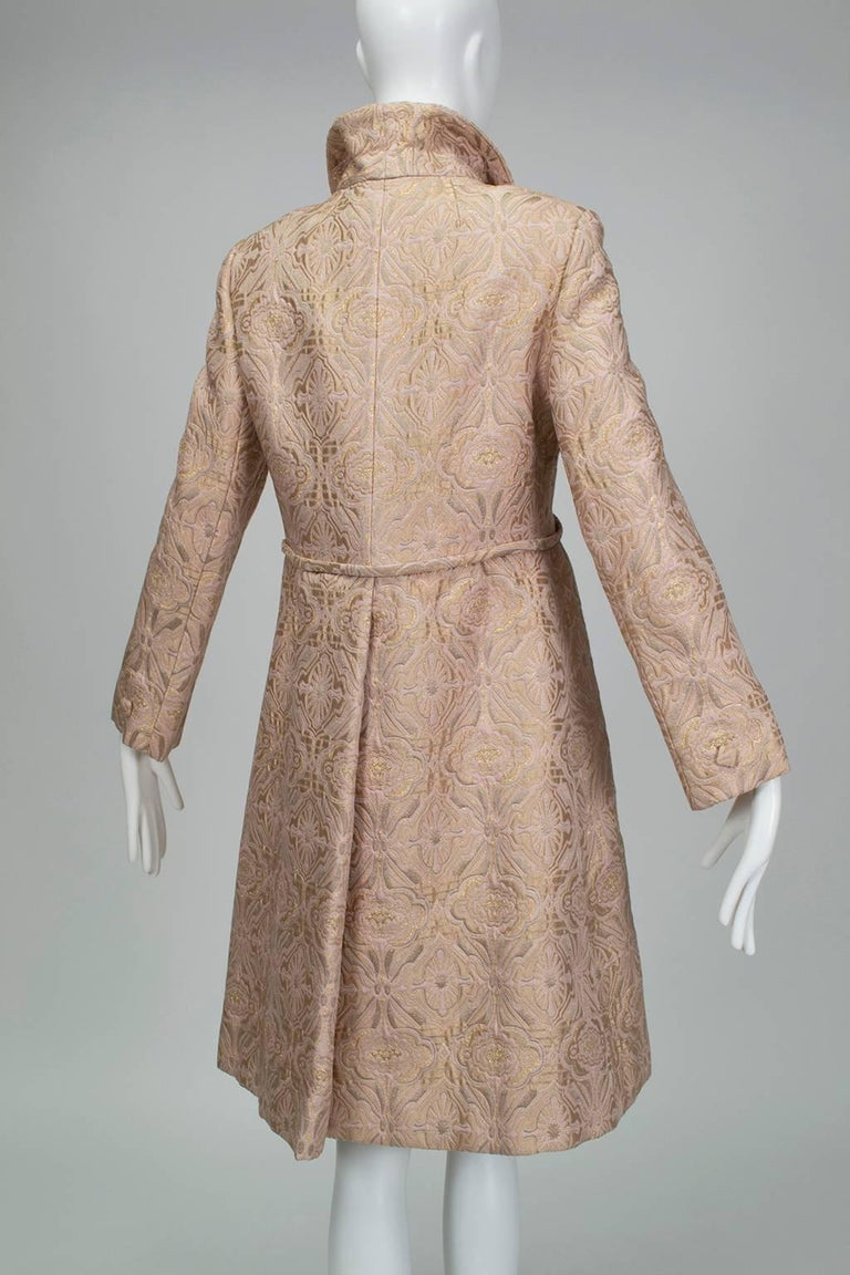 Women's Pink and Gold Jacquard A-Line Dress and Coat Set - Jacome Estate, 1960s For Sale