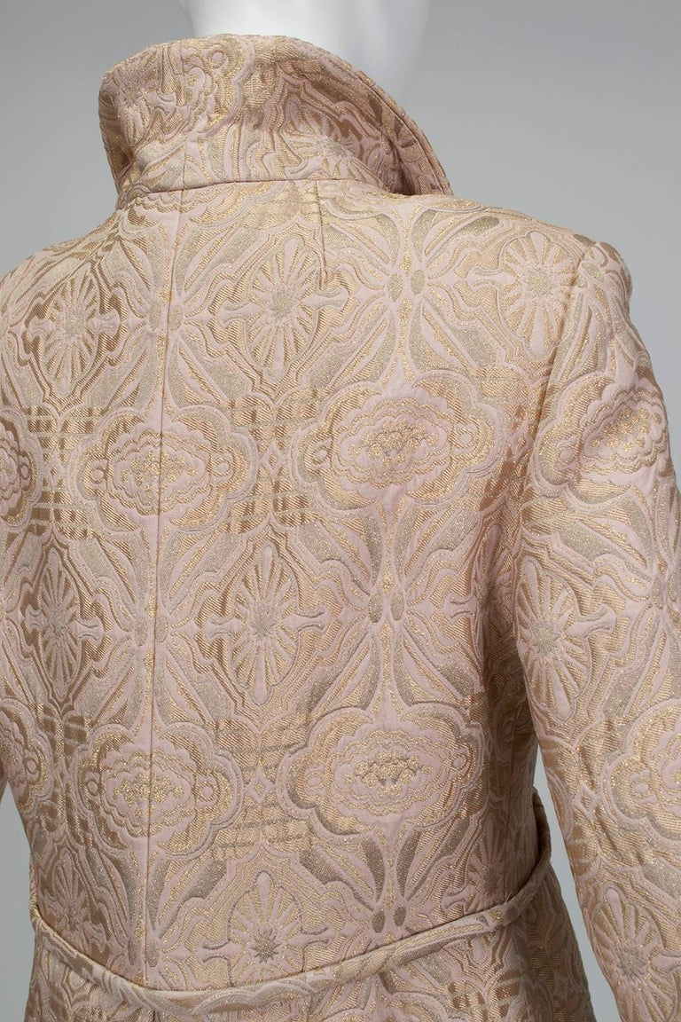 Pink and Gold Jacquard A-Line Dress and Coat Set - Jacome Estate, 1960s For Sale 1