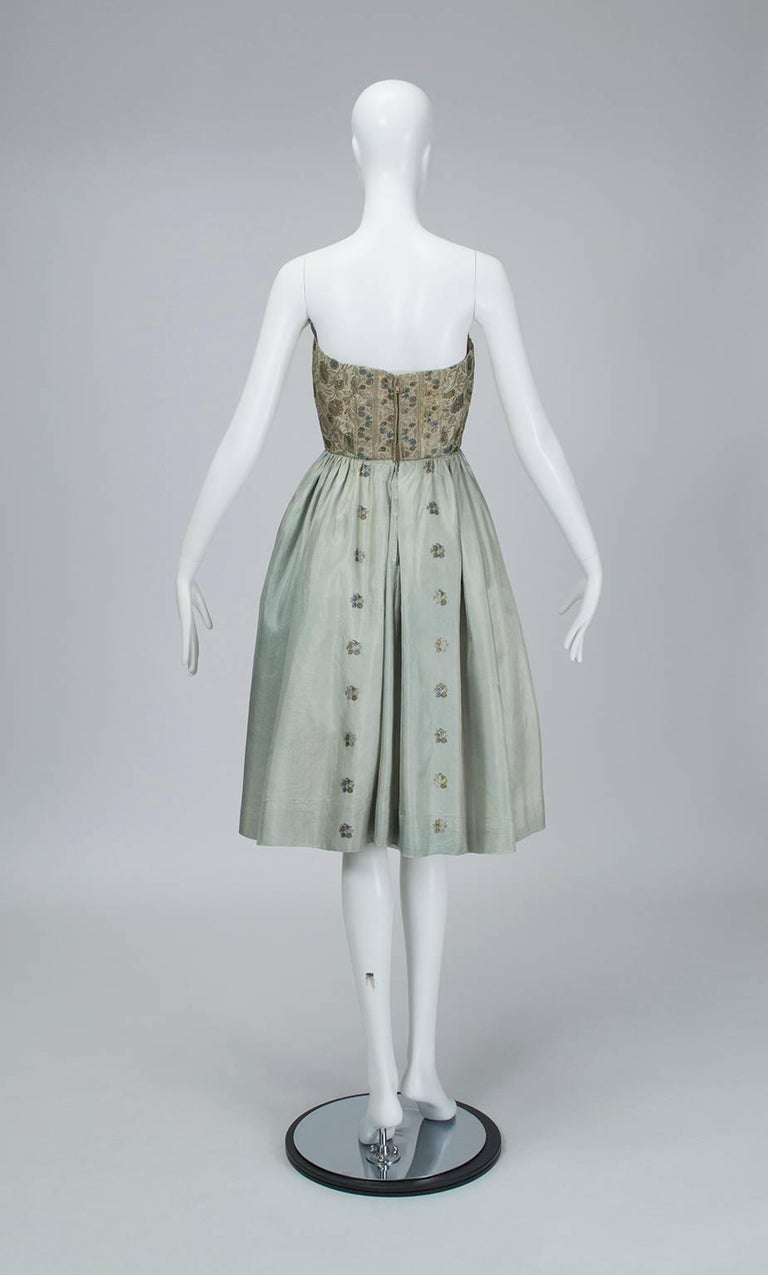Jacques Cassia Haute Couture Strapless Brocade Party Dress, 1950s In Good Condition For Sale In Phoenix, AZ