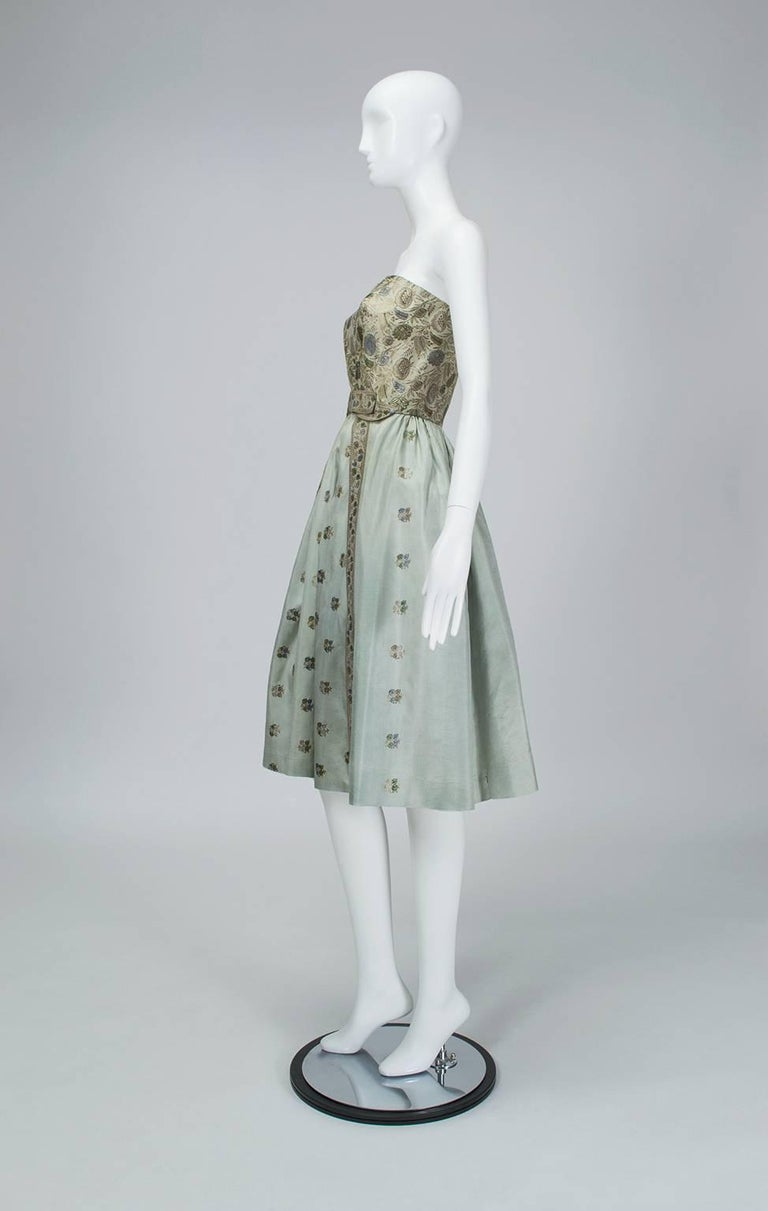 Gray Jacques Cassia Haute Couture Strapless Brocade Party Dress, 1950s For Sale