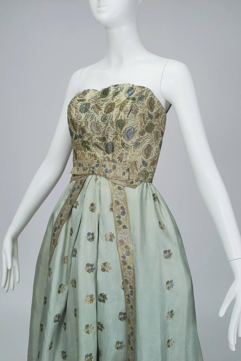 Jacques Cassia Haute Couture Strapless Brocade Party Dress, 1950s For Sale 1