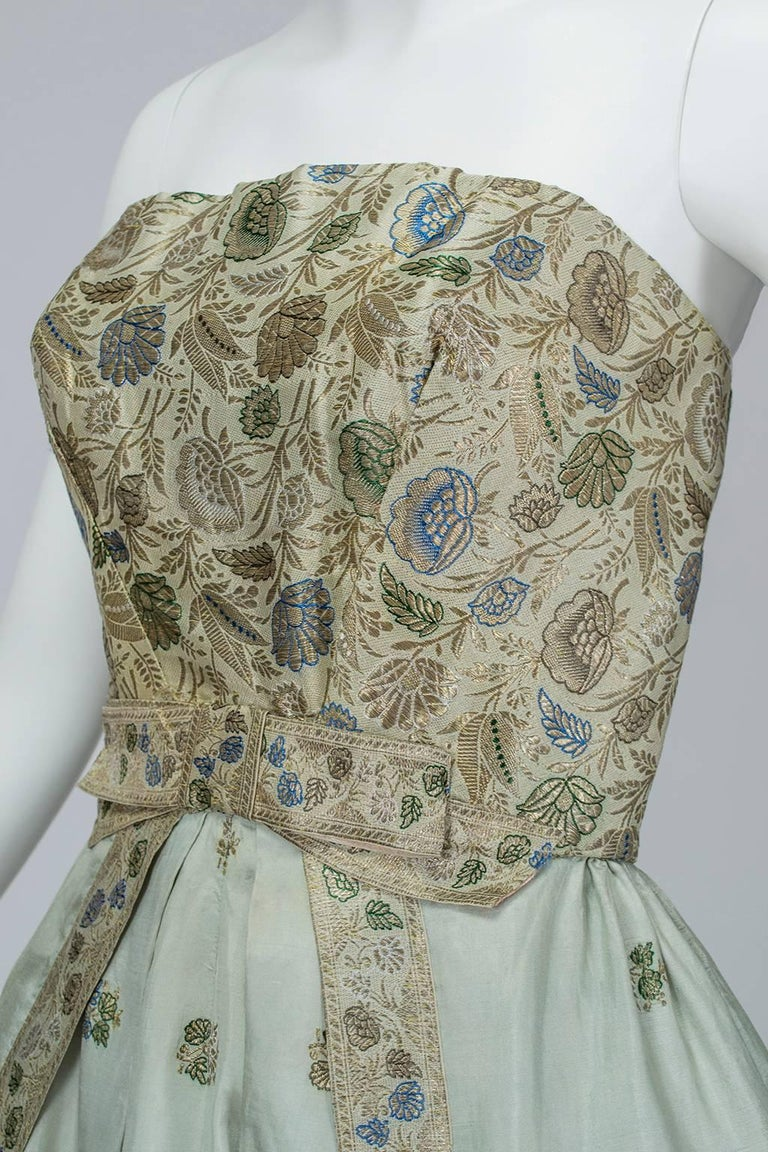 Jacques Cassia Haute Couture Strapless Brocade Party Dress, 1950s For Sale 2
