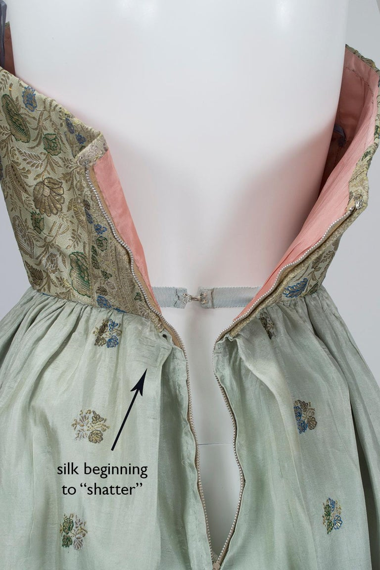 Jacques Cassia Haute Couture Strapless Brocade Party Dress, 1950s For Sale 6