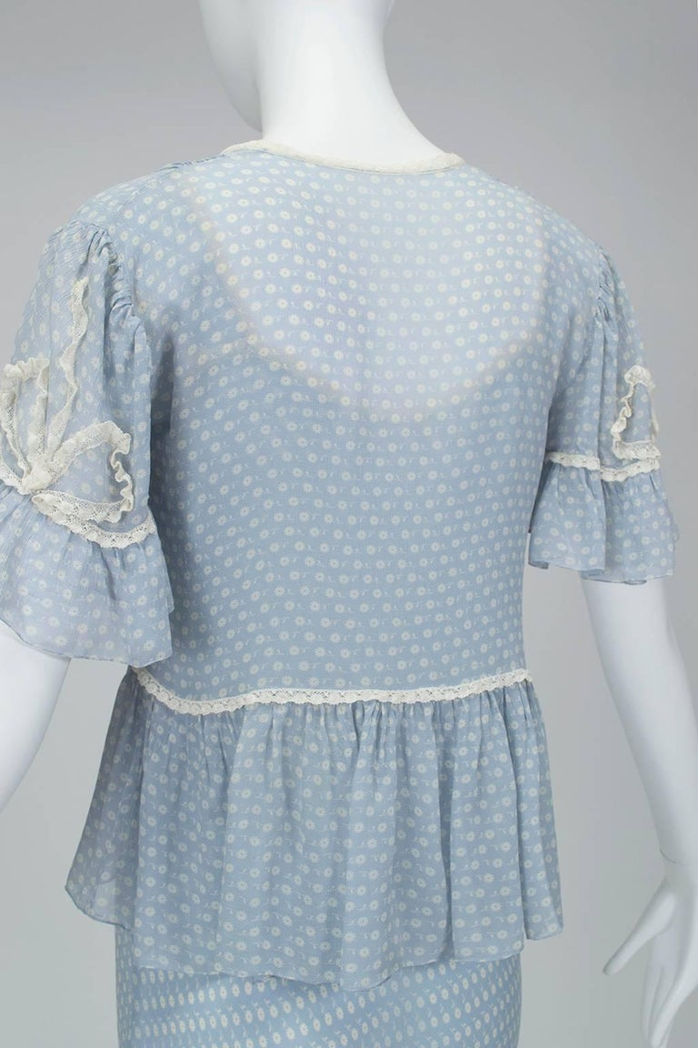 Women's Powder Blue Printed Chiffon Regency Peignoir Dressing Gown, Italy - S-M, 1930s For Sale
