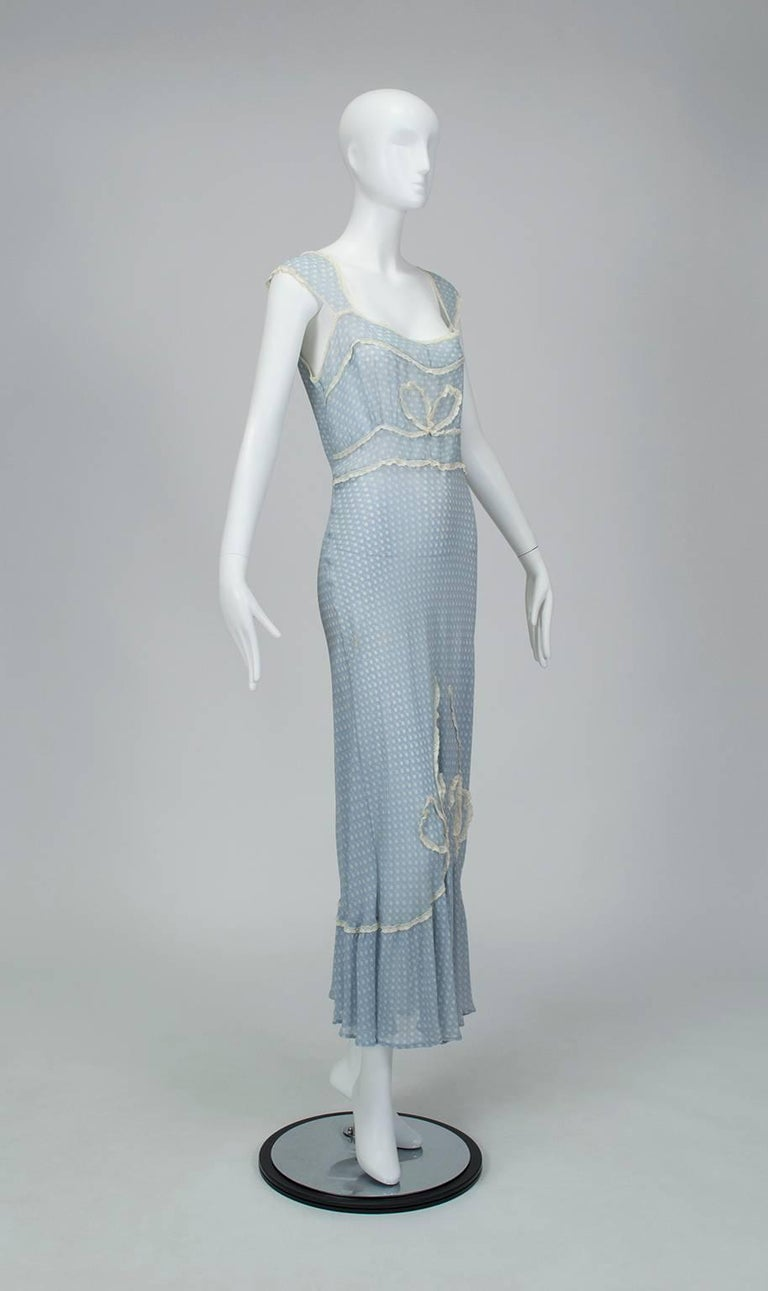 Powder Blue Printed Chiffon Regency Peignoir Dressing Gown, Italy - S-M, 1930s For Sale 1
