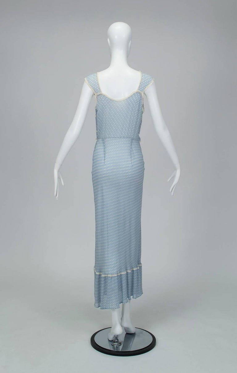 Powder Blue Printed Chiffon Regency Peignoir Dressing Gown, Italy - S-M, 1930s For Sale 2