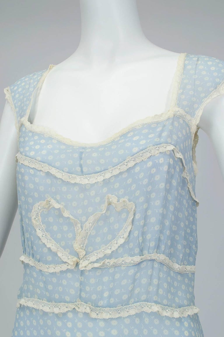 Powder Blue Printed Chiffon Regency Peignoir Dressing Gown, Italy - S-M, 1930s For Sale 3