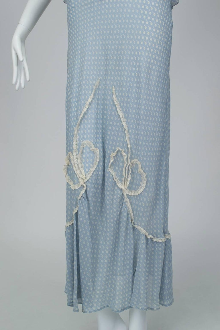 Powder Blue Printed Chiffon Regency Peignoir Dressing Gown, Italy - S-M, 1930s For Sale 4