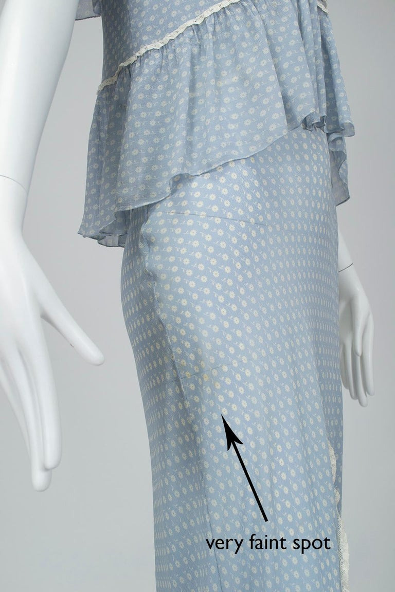 Powder Blue Printed Chiffon Regency Peignoir Dressing Gown, Italy - S-M, 1930s For Sale 6