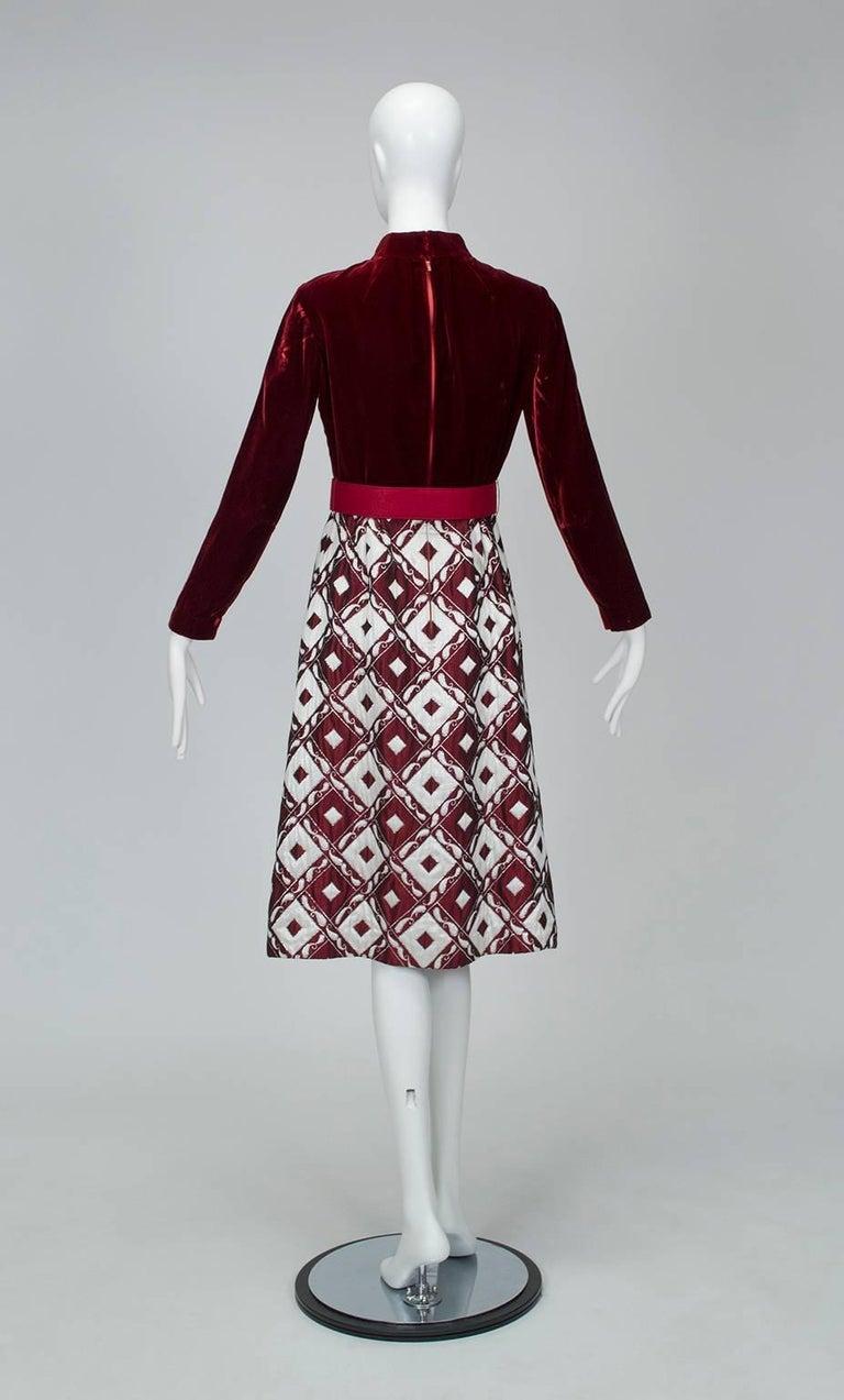 Black Ceil Chapman Velvet and Quilted Brocade Shirtwaist Dress, 1960s For Sale