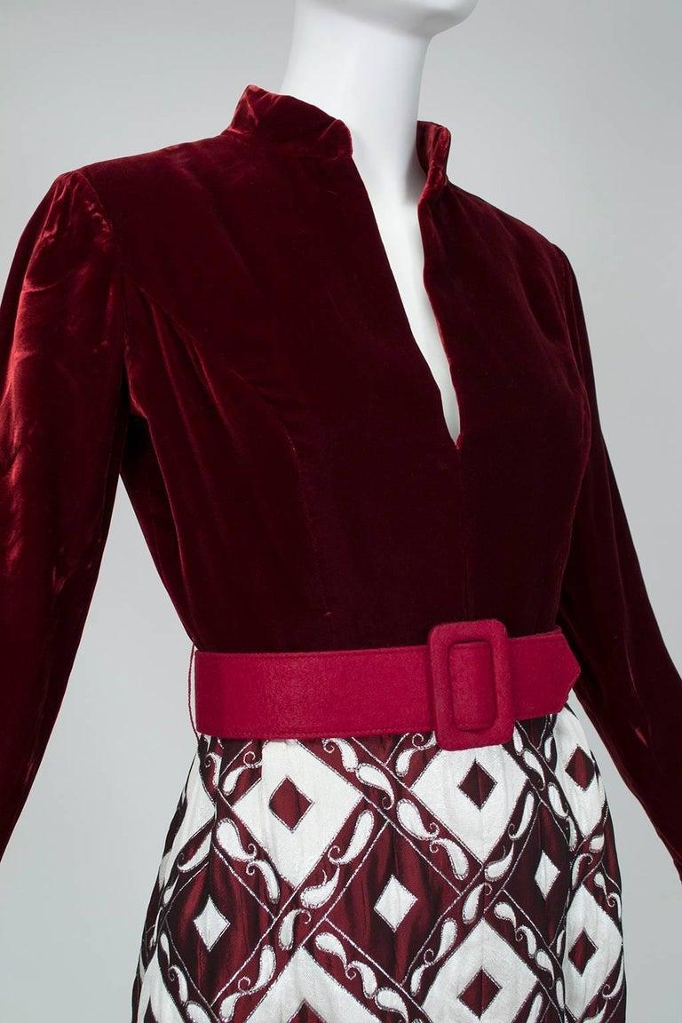 Ceil Chapman Velvet and Quilted Brocade Shirtwaist Dress, 1960s For Sale 1