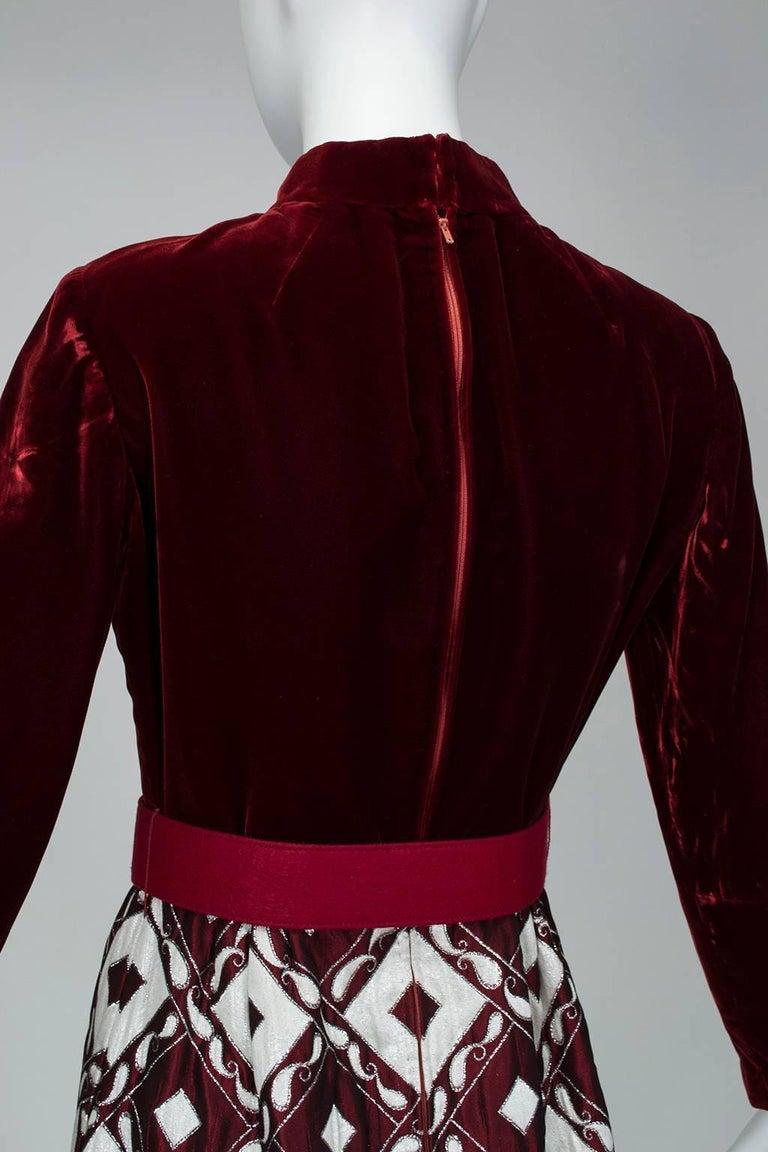 Ceil Chapman Velvet and Quilted Brocade Shirtwaist Dress, 1960s For Sale 2