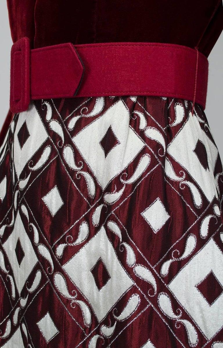 Ceil Chapman Velvet and Quilted Brocade Shirtwaist Dress, 1960s For Sale 4