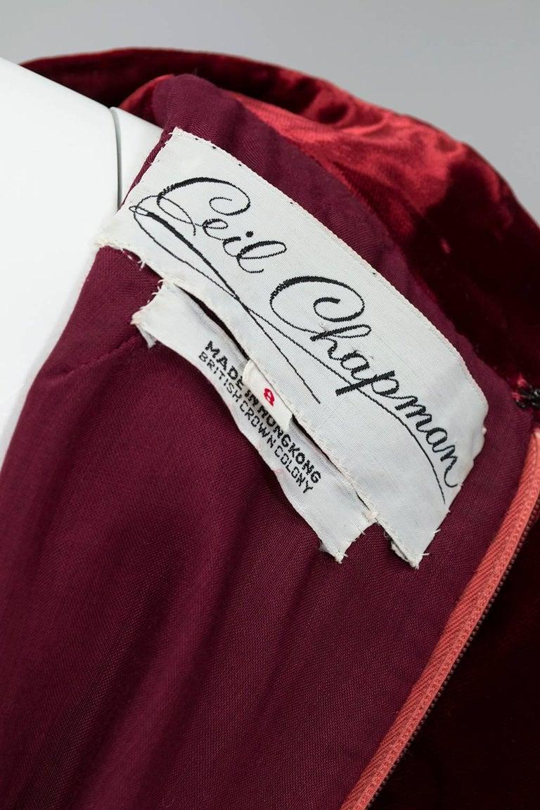 Ceil Chapman Velvet and Quilted Brocade Shirtwaist Dress, 1960s For Sale 5