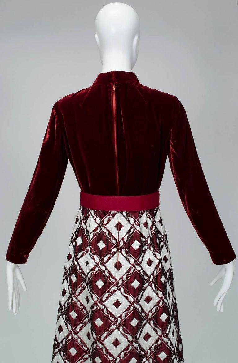 Women's Ceil Chapman Velvet and Quilted Brocade Shirtwaist Dress, 1960s For Sale