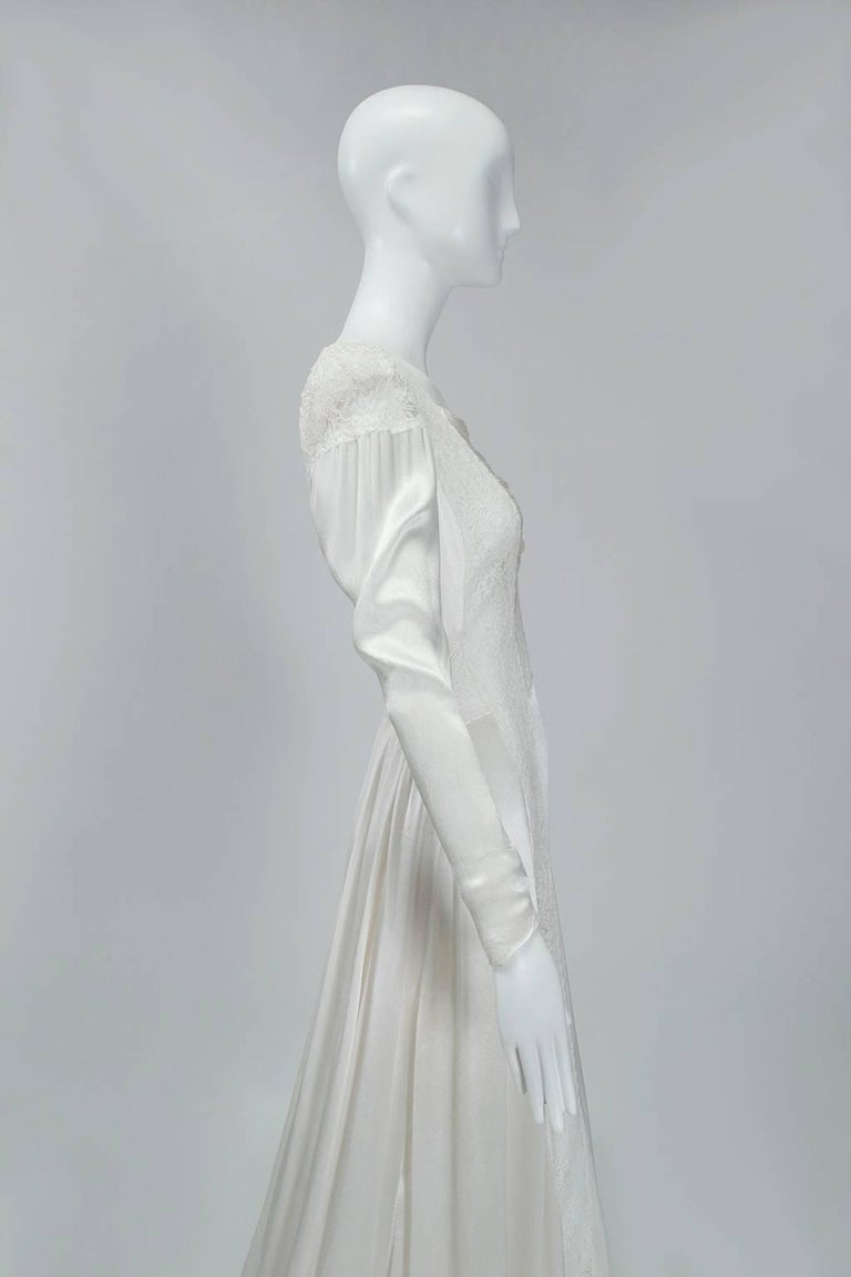 Women's Sheer Hollywood Regency Bias Wedding Gown with Cathedral Train, 1930s For Sale