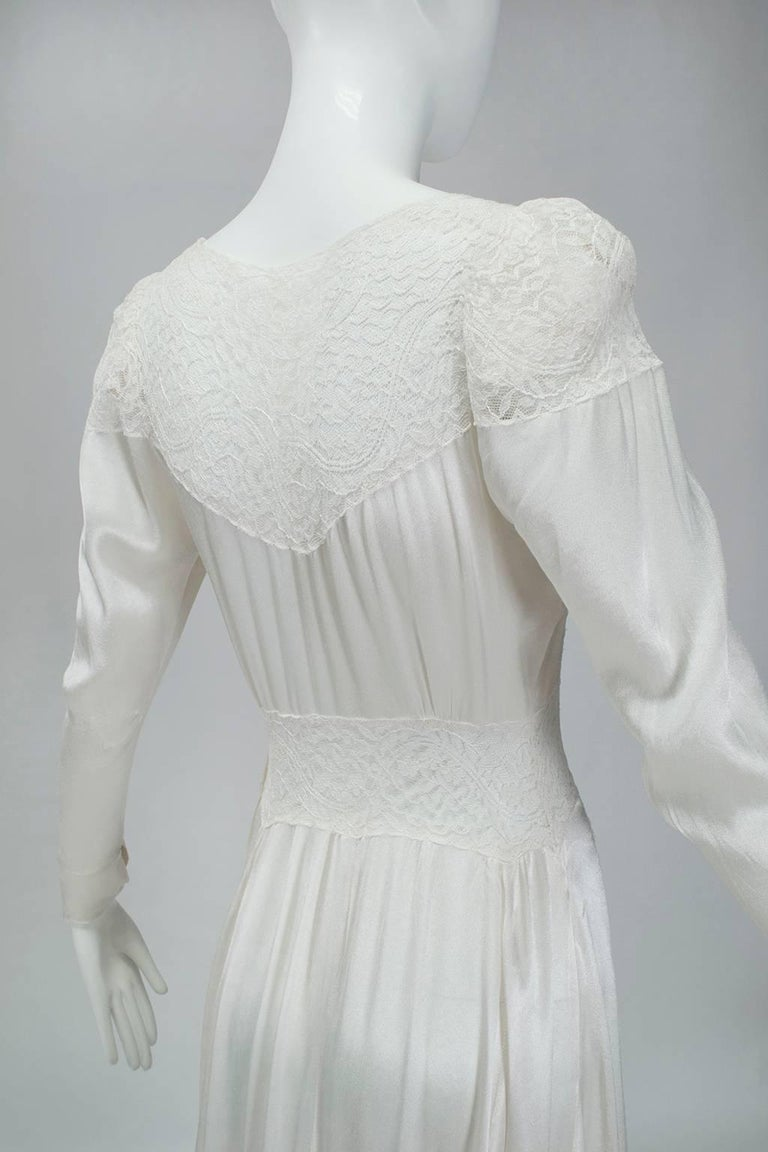 Sheer Hollywood Regency Bias Wedding Gown with Cathedral Train, 1930s For Sale 5
