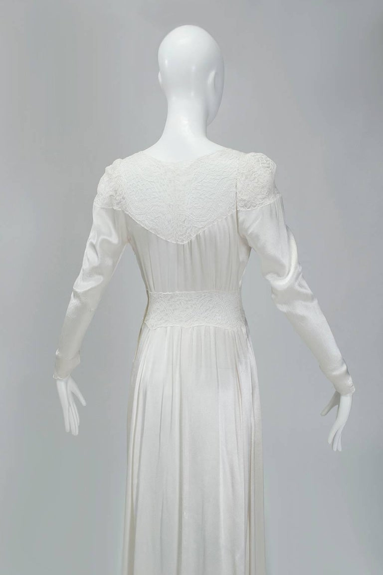 Sheer Hollywood Regency Bias Wedding Gown with Cathedral Train, 1930s For Sale 1