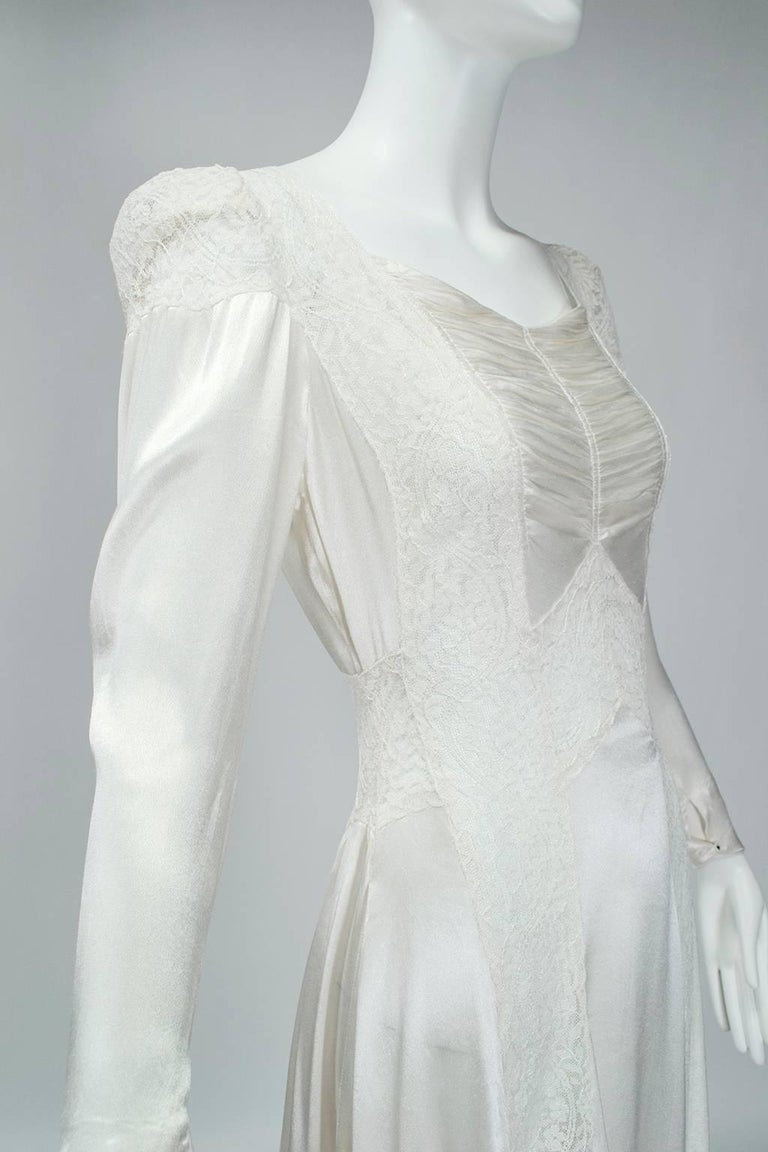 Sheer Hollywood Regency Bias Wedding Gown with Cathedral Train, 1930s For Sale 2