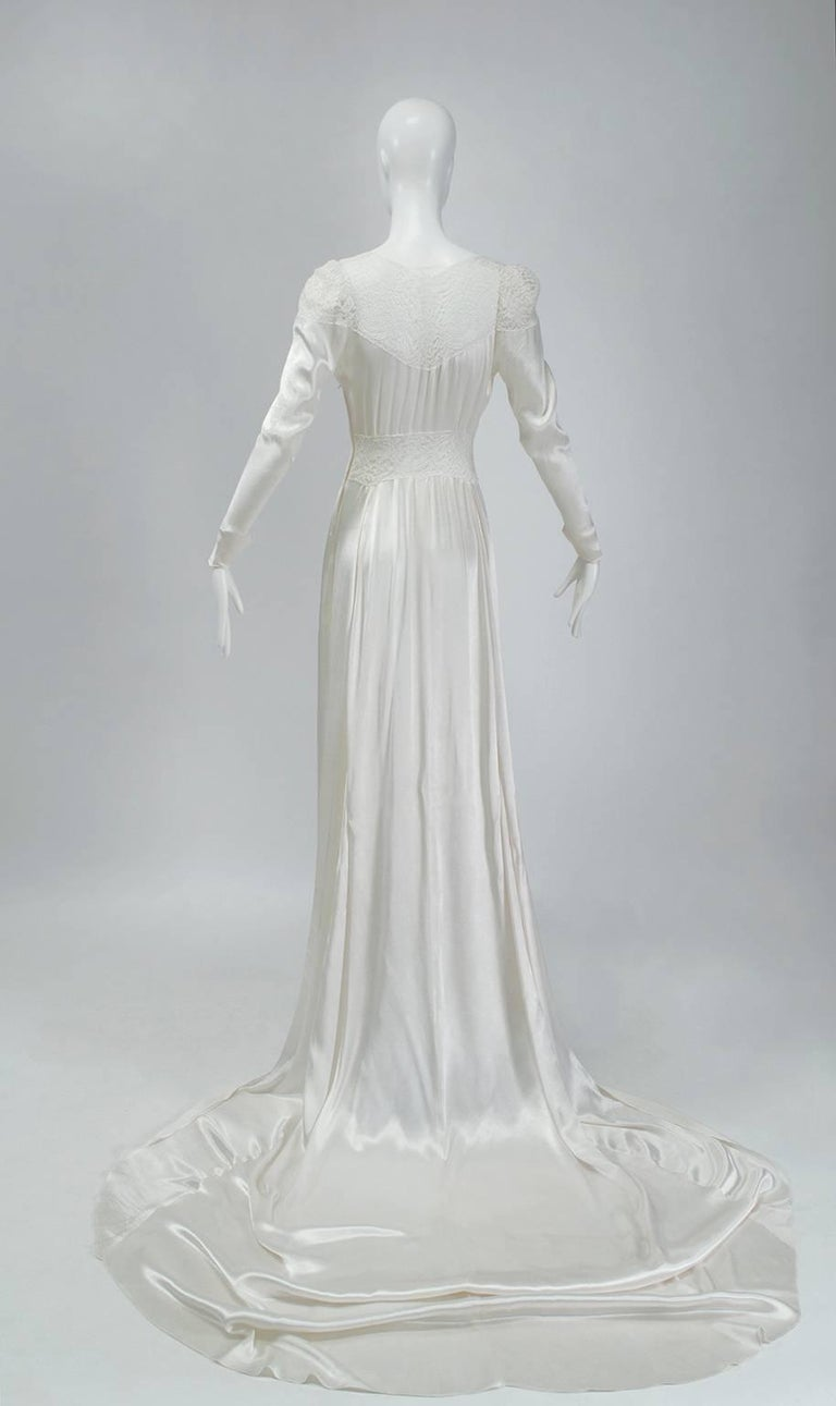 Gray Sheer Hollywood Regency Bias Wedding Gown with Cathedral Train, 1930s For Sale