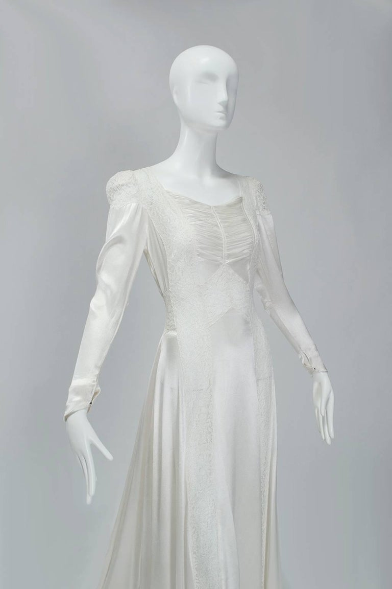 Sheer Hollywood Regency Bias Wedding Gown with Cathedral Train, 1930s In Good Condition For Sale In Phoenix, AZ
