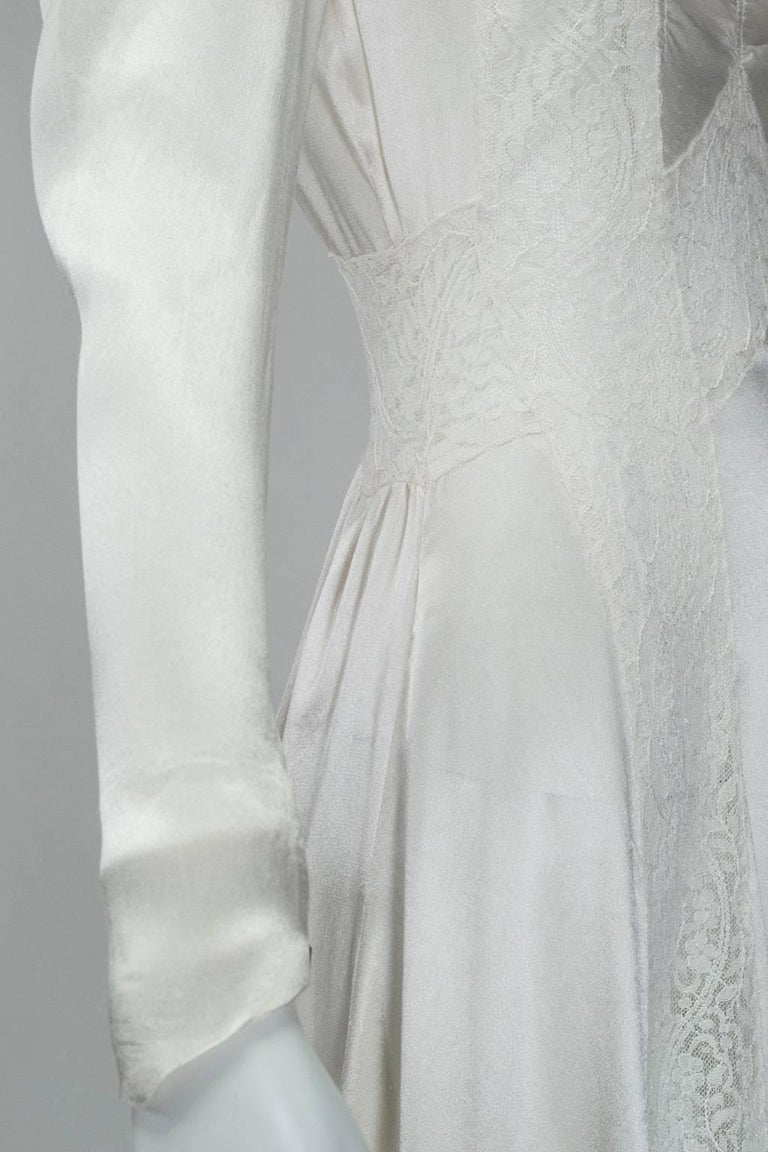 Sheer Hollywood Regency Bias Wedding Gown with Cathedral Train, 1930s For Sale 4