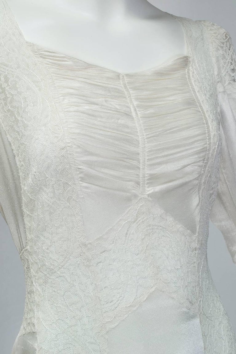 Sheer Hollywood Regency Bias Wedding Gown with Cathedral Train, 1930s For Sale 3