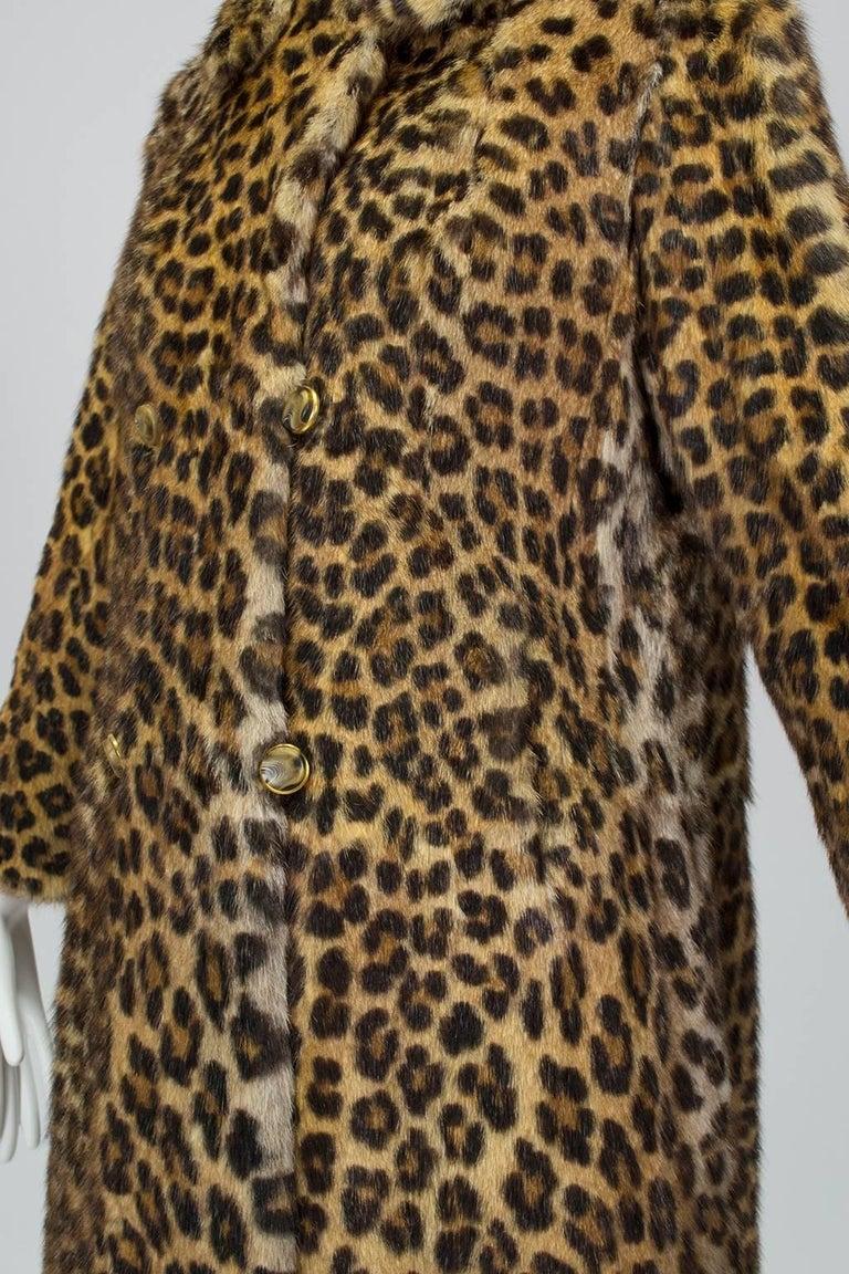 Black Genuine Leopard-Stenciled Mink Fur A-Line Stroller Coat - S-M, 1960s For Sale