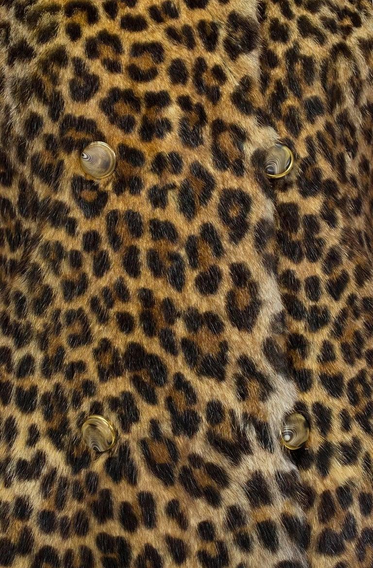 Women's Genuine Leopard-Stenciled Mink Fur A-Line Stroller Coat - S-M, 1960s For Sale