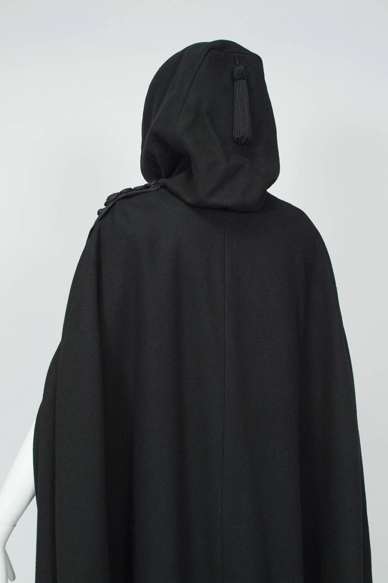 Sweeping Floor Length Hooded Cloak With Passementerie Trim