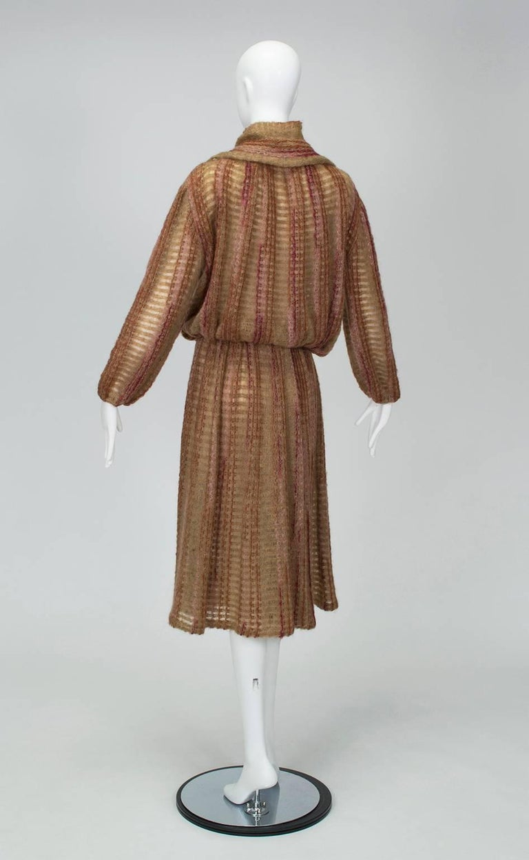 Brown Taupe Mohair Sweater-Dressing Sailor Pullover and Midi Skirt Ensemble-M-L, 1970s For Sale
