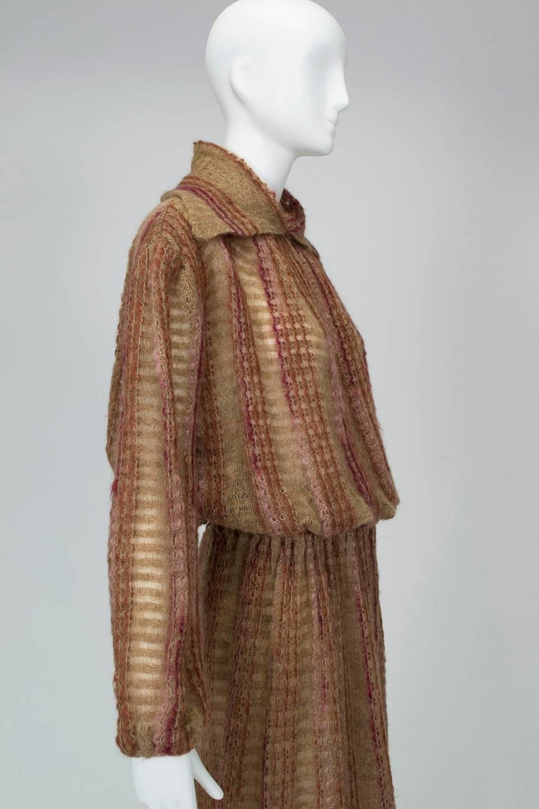 Women's Taupe Mohair Sweater-Dressing Sailor Pullover and Midi Skirt Ensemble-M-L, 1970s For Sale