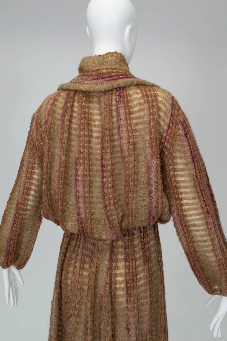Taupe Mohair Sweater-Dressing Sailor Pullover and Midi Skirt Ensemble-M-L, 1970s For Sale 1