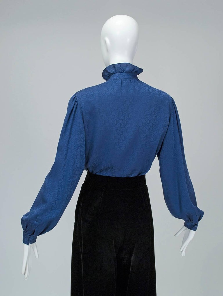 Yves Saint Laurent Silk Jacquard Ruff Collar Blouse, 1970s In Excellent Condition For Sale In Phoenix, AZ