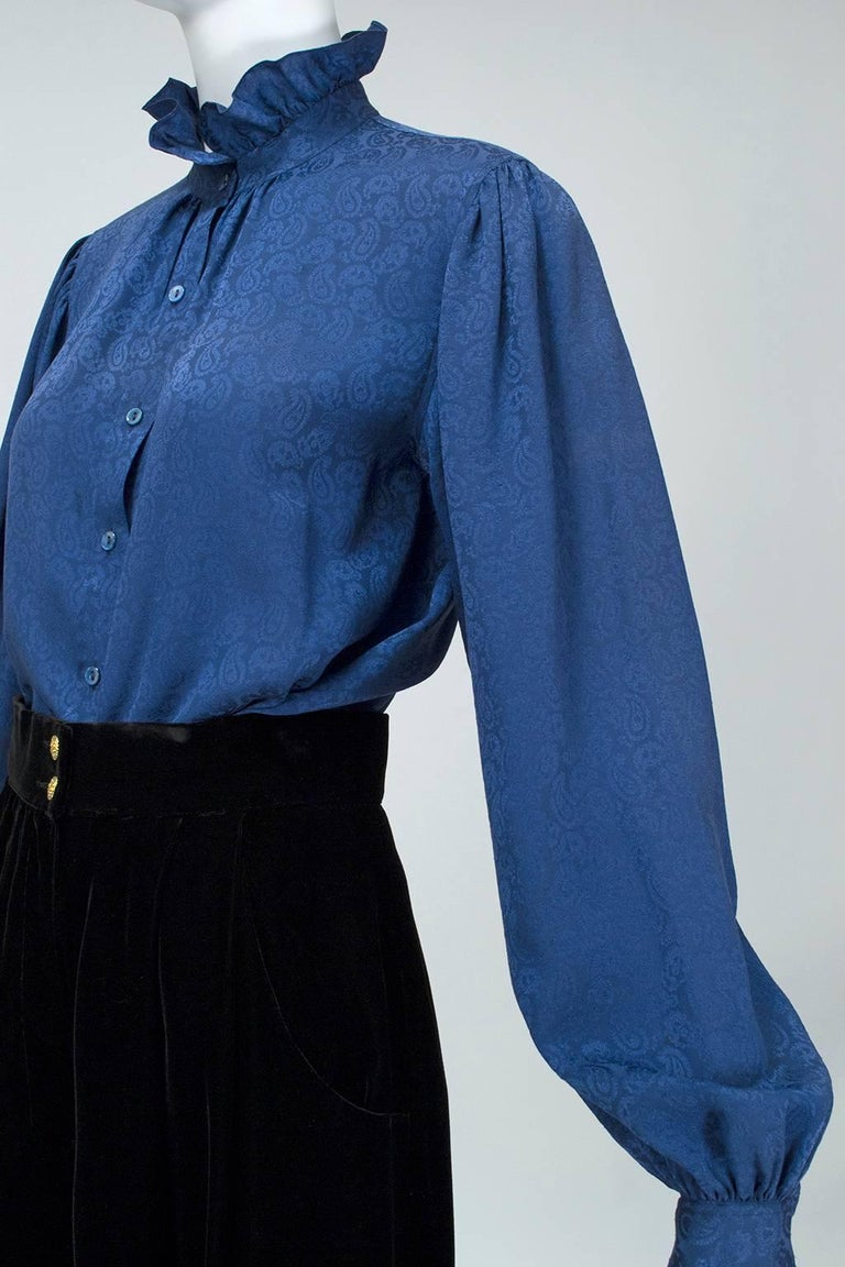 Women's Yves Saint Laurent Silk Jacquard Ruff Collar Blouse, 1970s For Sale