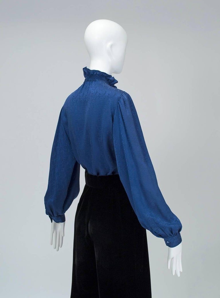 Blue Yves Saint Laurent Silk Jacquard Ruff Collar Blouse, 1970s For Sale