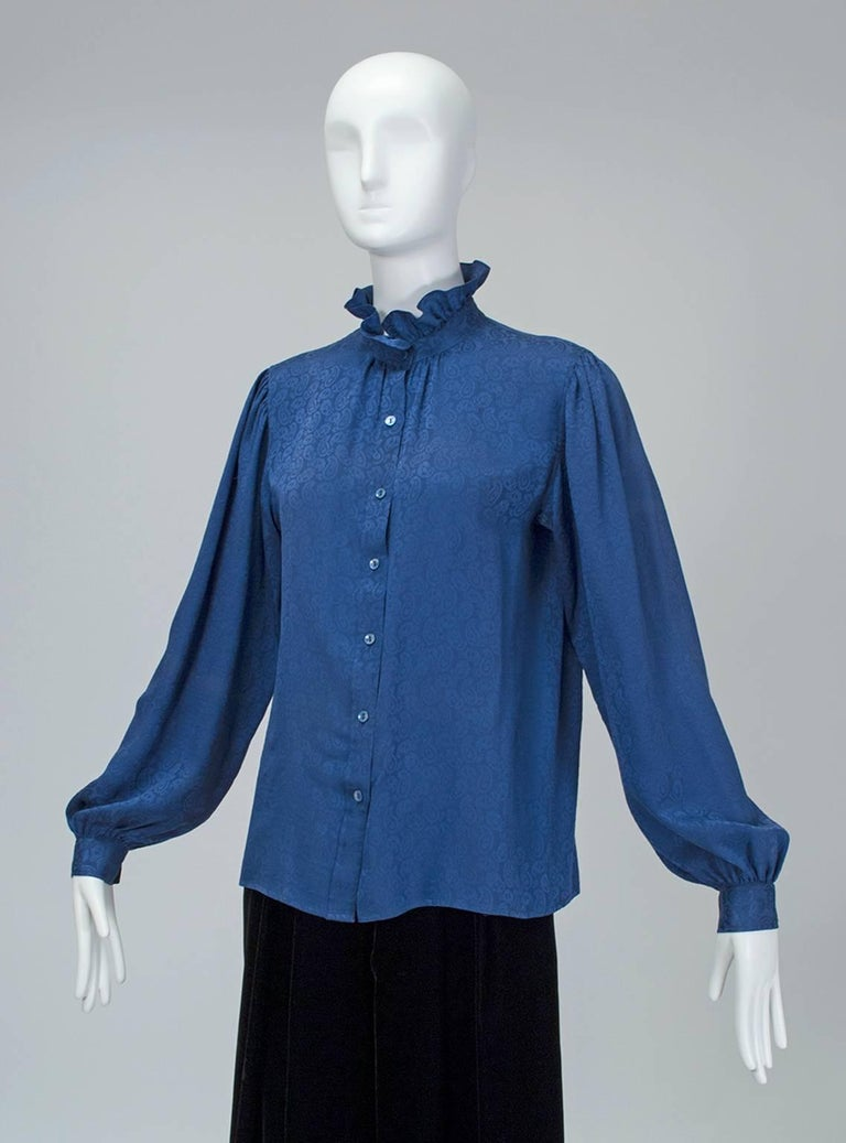 Yves Saint Laurent Silk Jacquard Ruff Collar Blouse, 1970s For Sale 3