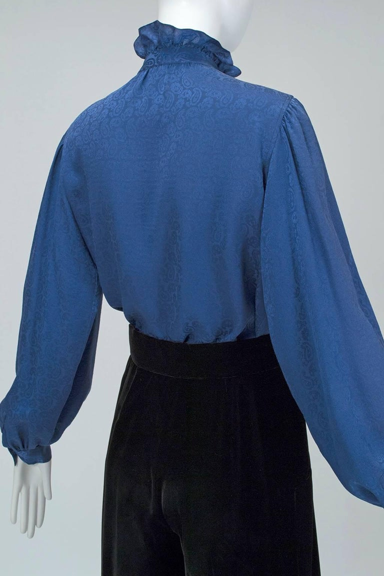 Yves Saint Laurent Silk Jacquard Ruff Collar Blouse, 1970s For Sale 1