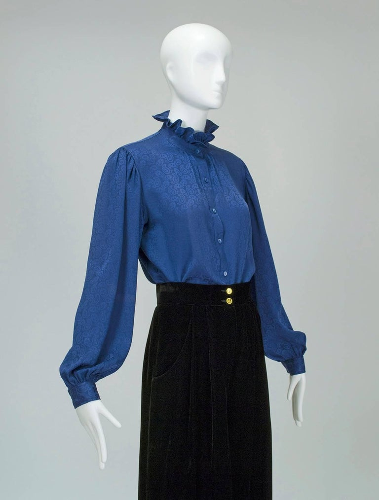 Yves Saint Laurent Silk Jacquard Ruff Collar Blouse, 1970s 2