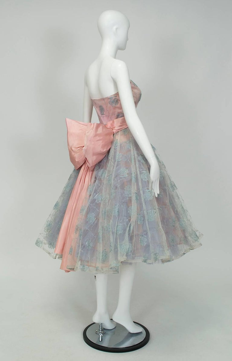 Will Steinman Strapless Back Bow Party Dress 1950s For