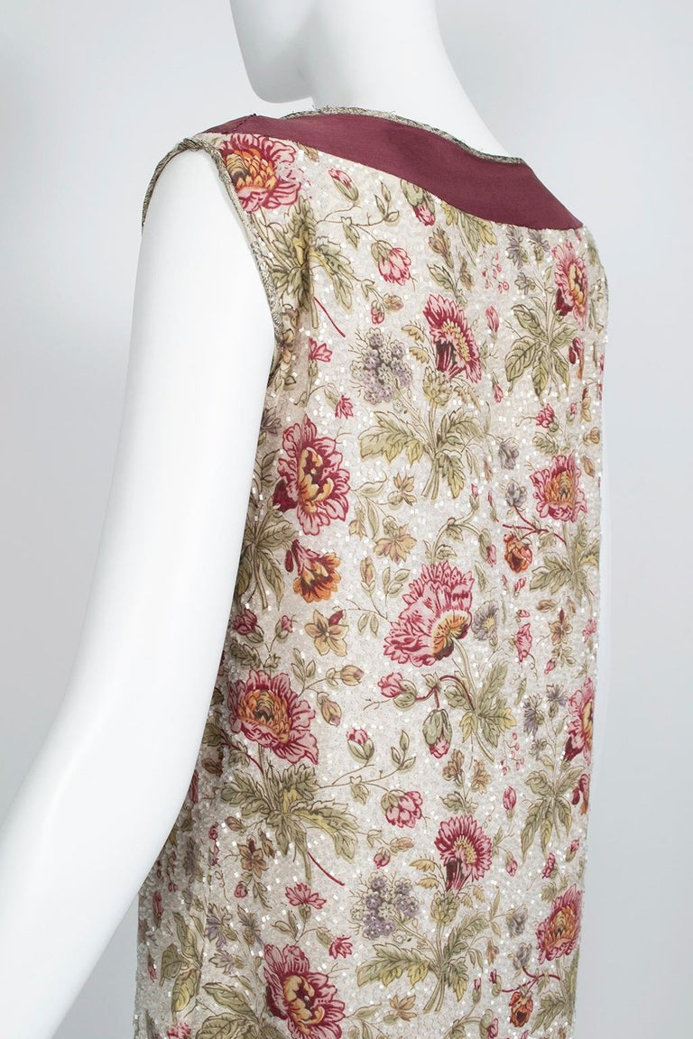 Women's Glass Bead Floral Sack Dress with Gold Brocade Piping, 1920s For Sale
