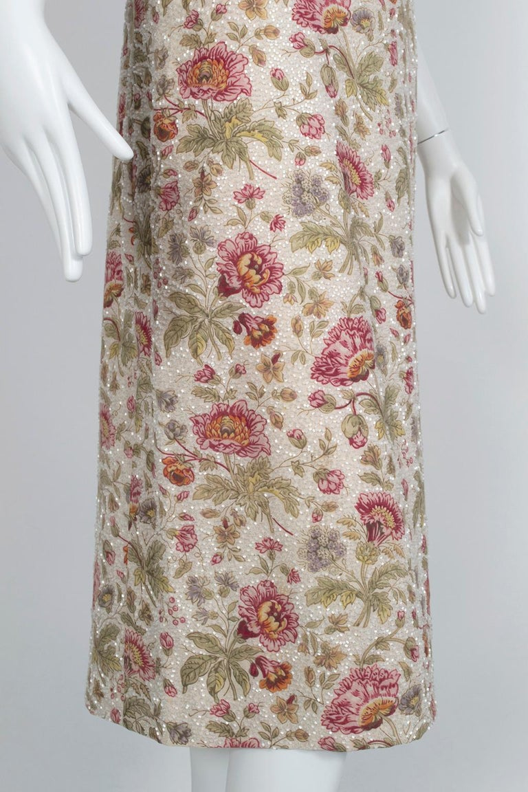 Glass Bead Floral Sack Dress with Gold Brocade Piping, 1920s For Sale 2