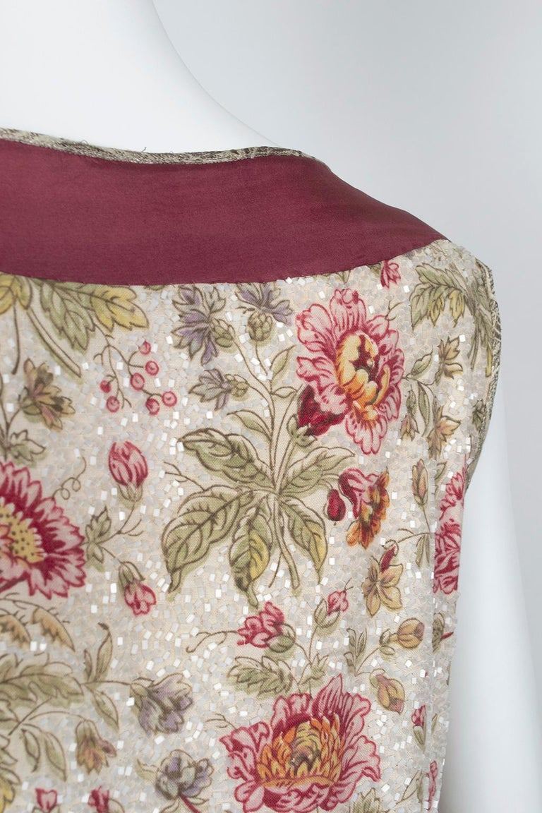 Glass Bead Floral Sack Dress with Gold Brocade Piping, 1920s For Sale 3