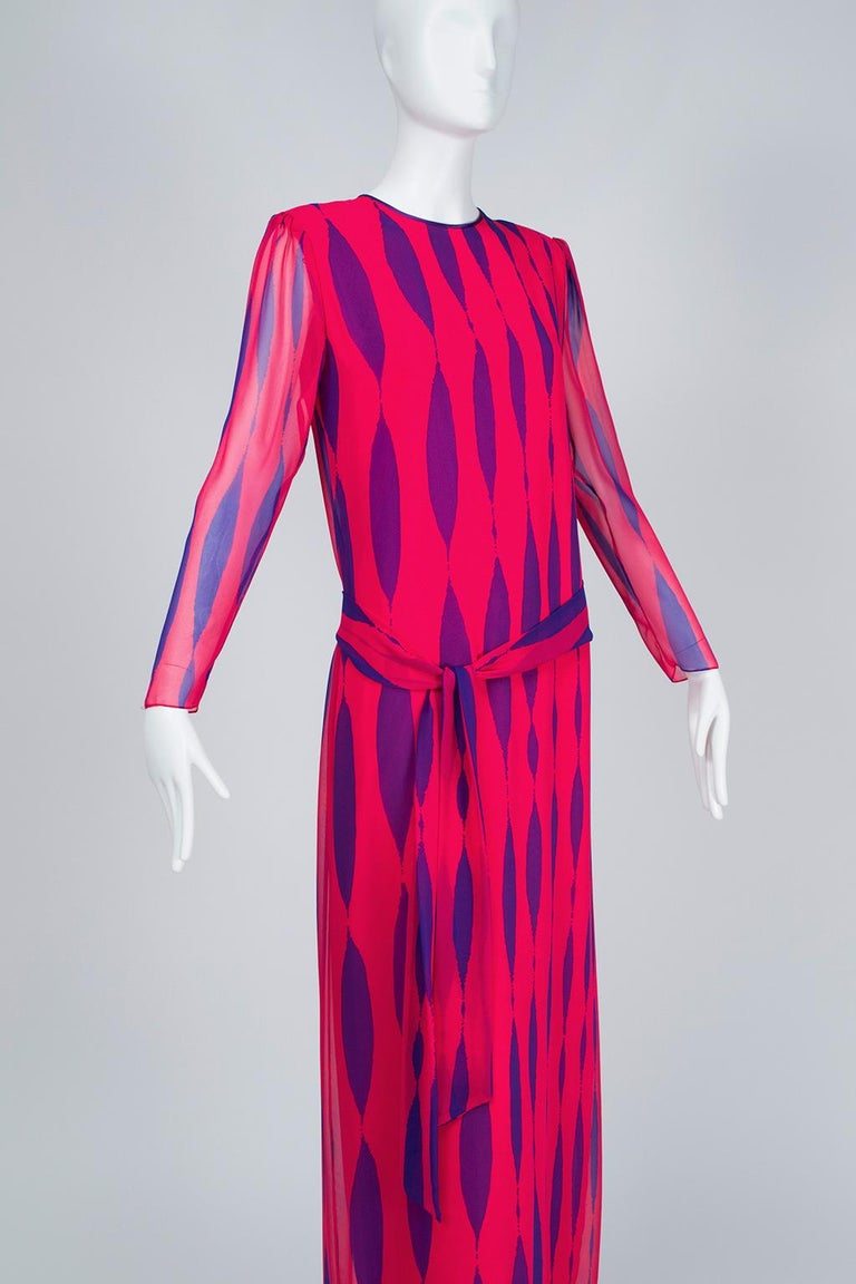 Women's Hanae Mori Fuchsia and Purple Pop Art Column Gown - Medium, 1980s For Sale