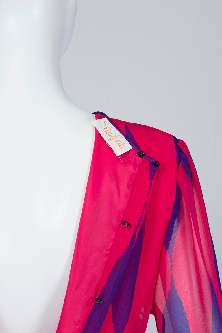 Hanae Mori Fuchsia and Purple Pop Art Column Gown - Medium, 1980s For Sale 3