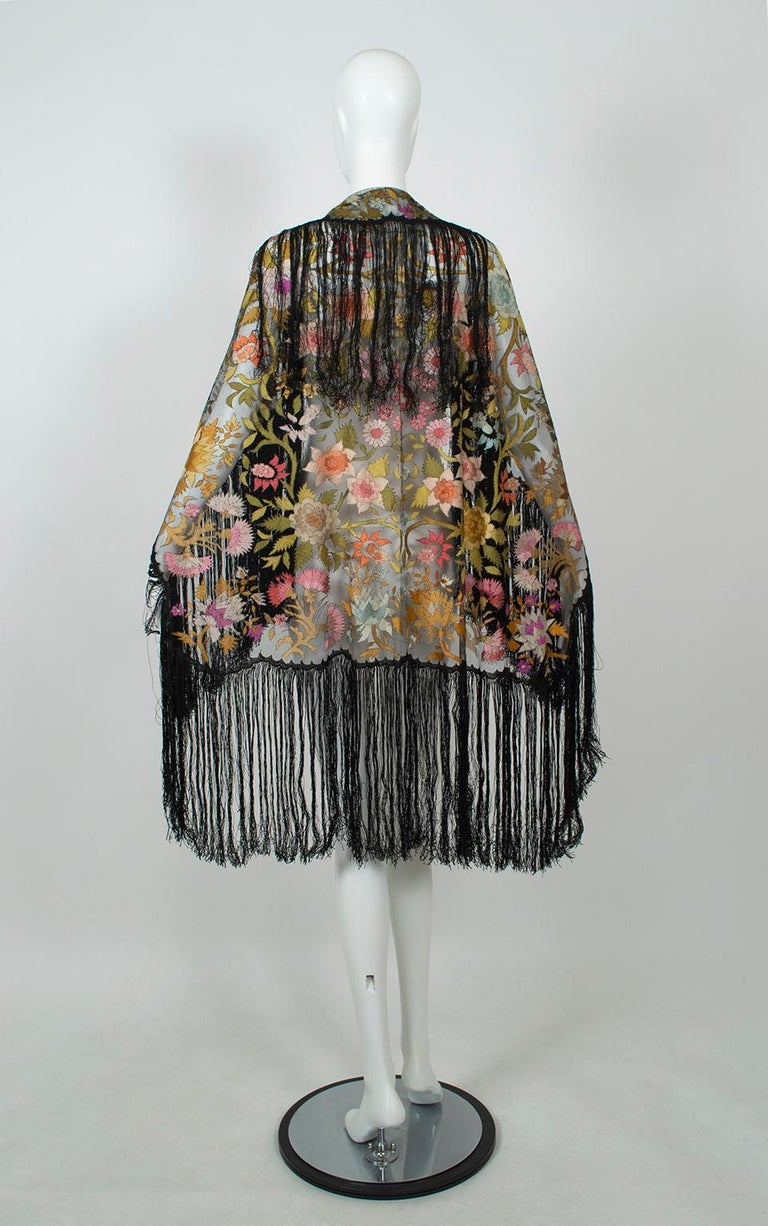 Haute Couture Embroidered Silk Mantilla – Garros Estate, 1900s In Excellent Condition For Sale In Tucson, AZ