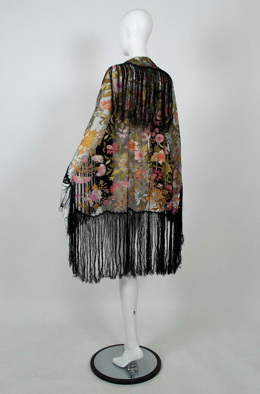 Black Haute Couture Embroidered Silk Mantilla – Garros Estate, 1900s For Sale