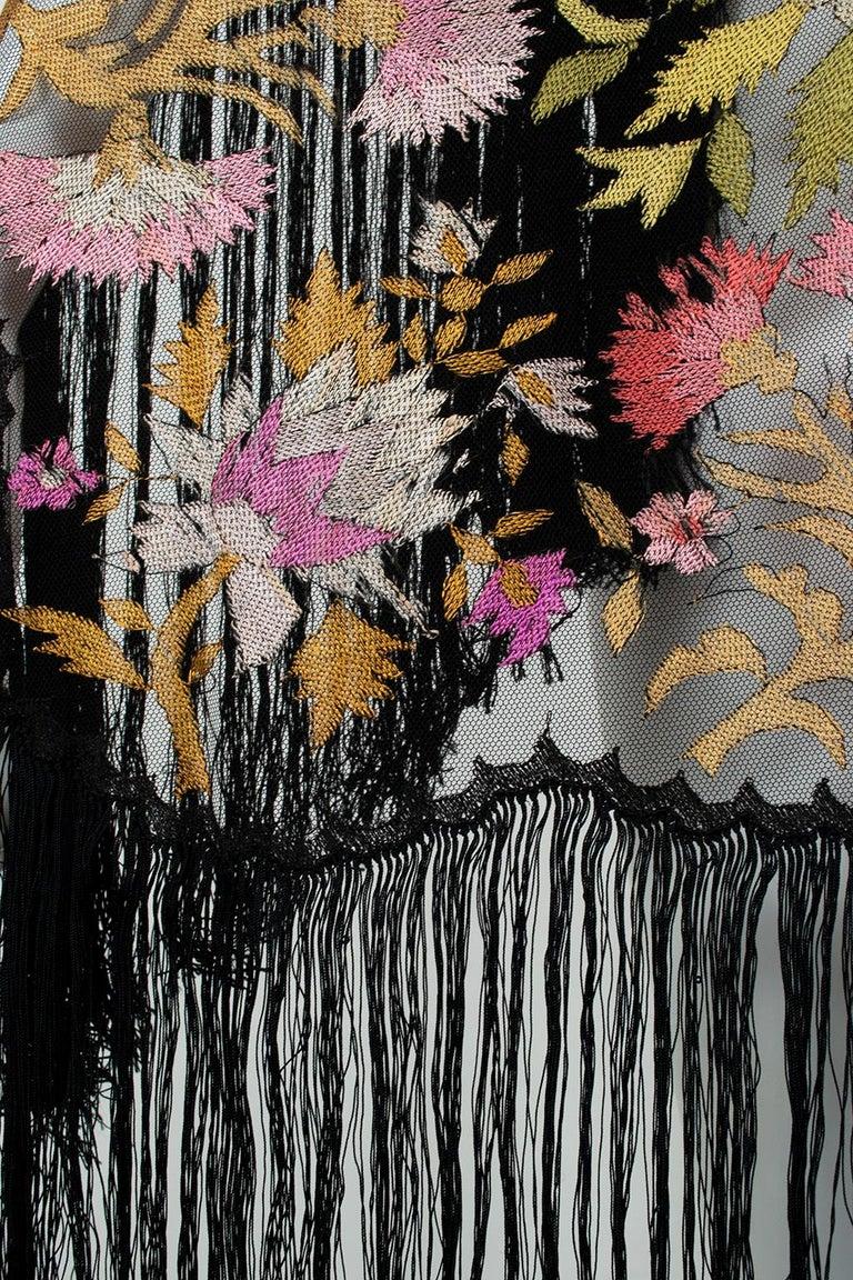 Haute Couture Embroidered Silk Mantilla – Garros Estate, 1900s For Sale 2