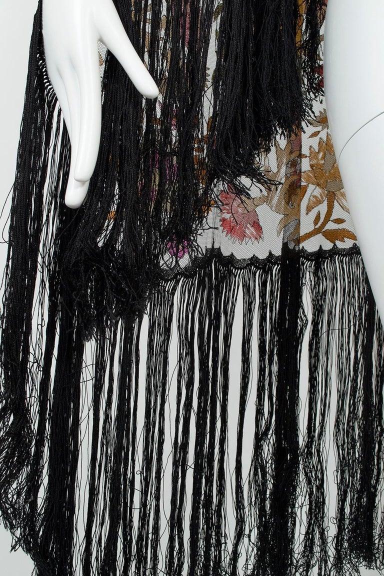 Haute Couture Embroidered Silk Mantilla – Garros Estate, 1900s For Sale 3
