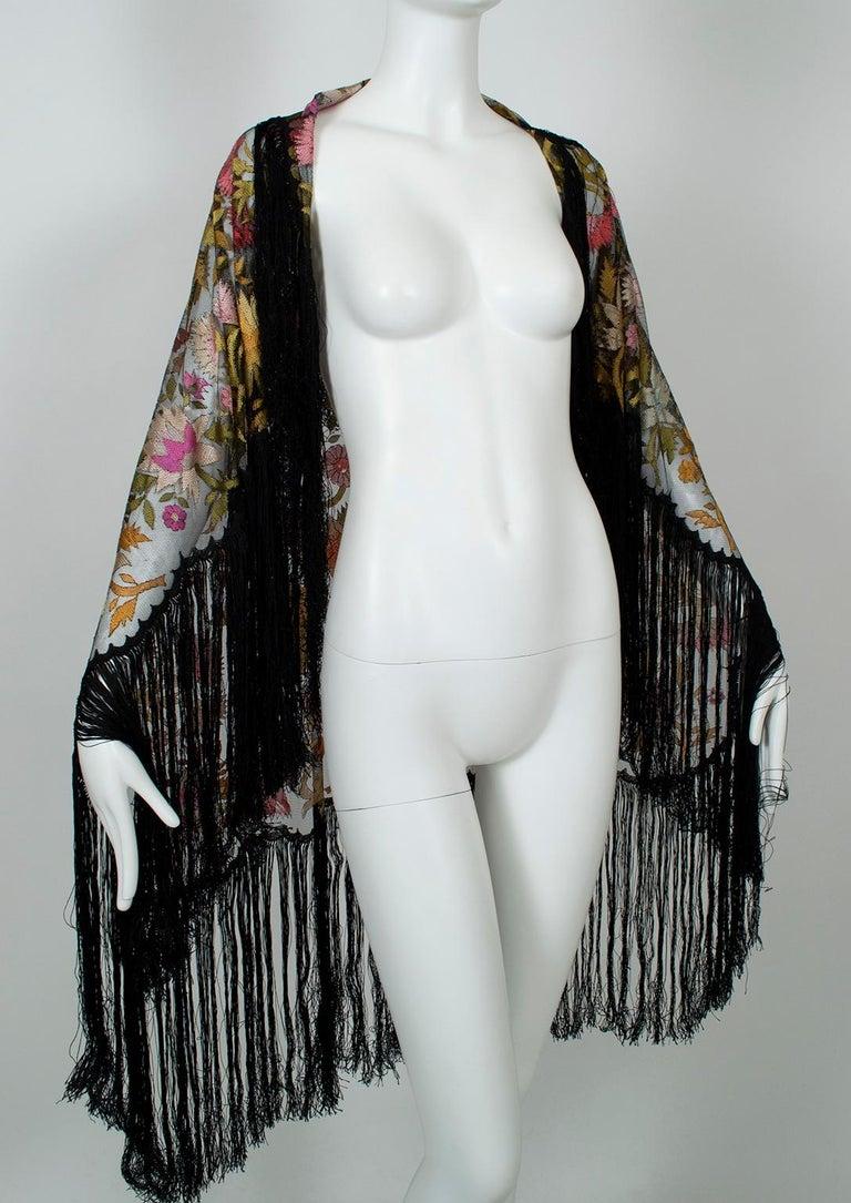 Women's Haute Couture Embroidered Silk Mantilla – Garros Estate, 1900s For Sale